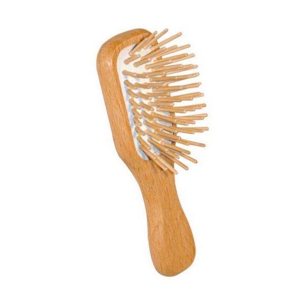 mini medinis šepetys plaukams
